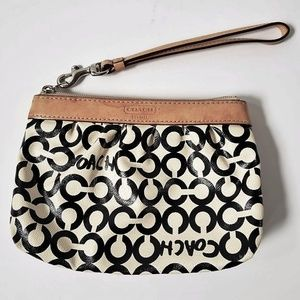 COACH Coated Canvas Leah Op Art Pleated Wristlet
